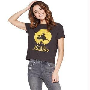 NWT Disney Aladdin black crop T shirt retro style
